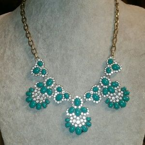 J. Crew Gold,Faux Turquoise & Crystal Statement Ne